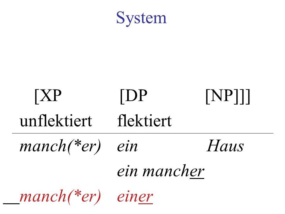 System [XP [DP [NP]]] unflektiert flektiert. manch(*er) ein Haus.